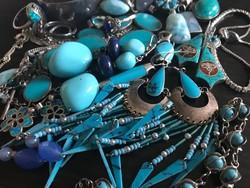 Ezüst ékszer csomag csupa kék türkiz karikát lapisz kristály stb stb ékszer gyűjtemény