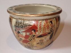 Régi jelzett dúsan aranyozott kínai kaspó cserép váza