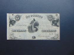 5 forint 1852 Kossuth bankó Szép bankjegy !