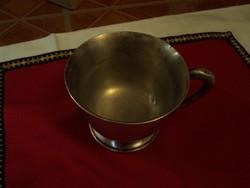 Hatalmas 12,5 cm átmérőjű ezüstözött,alpakka bögre