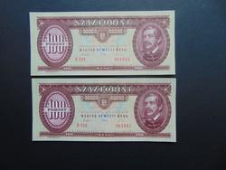 2 darab 100 forint 1993 Sorszámkövető bankjegyek aUNC !