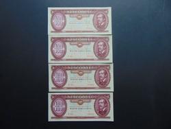 4 darab 100 forint 1989 Sorszámkövető bankjegyek aUNC !