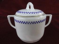Z.S § C. antik német Bavaria porcelán cukortartó. Fehér alapon kék kockamintás.