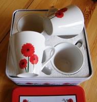 4 db kávés csésze dobozában, 6 x 5.5 cm