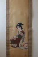 Kimonós szépség - Japán festmény akvarell falitekercs