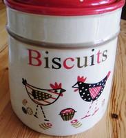 Angol kekszes,tyúk mintás fedeles tároló  18 x 14 cm