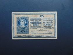 25 korona 1918 3000 feletti sorszám ritkább bankjegy