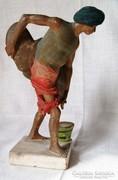 Régi indiai terrakotta szobor (Krishnanagar clay doll) magyar vonatkozással