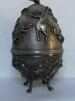 Antik orosz ezűst vadász tojás ötvösremekmű