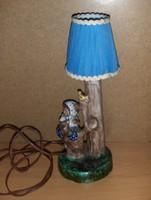 Antik asztali kislányt ábrázoló kerámia lámpatest ernyővel (21/d)