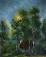 Magas fák árnyékában - olajfestmény