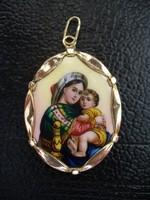Antik Mária medál 14 karátos arany