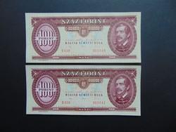 2 darab 100 forint 1992 Sorszámkövető bankjegyek UNC !