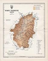Turóc vármegye térkép 1897 (3), lexikon melléklet, Gönczy Pál, 23 x 30 cm, megye, Posner Károly