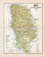 Torontál vármegye térkép 1897 (6), lexikon melléklet, Gönczy Pál, 23 x 30 cm, megye, Posner Károly