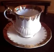 Angol kávés csésze barna alapon aranyozással Elisabethan