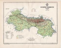 Szerém vármegye térkép 1897 (3), lexikon melléklet, Gönczy Pál, 23 x 30 cm, megye, Posner Károly