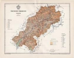 Trencsén vármegye térkép 1897 (4), lexikon melléklet, Gönczy Pál, 23 x 30 cm, megye, Posner Károly