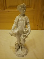 Ritka Herendi fehér Fazekas fiú, legény porcelán figura