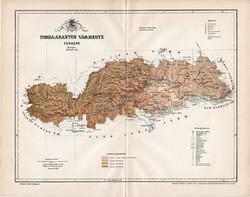 Torda - Aranyos vármegye térkép 1894 (4), lexikon melléklet, Gönczy Pál, 23 x 30 cm, megye, Posner