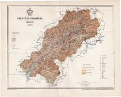 Trencsén vármegye térkép 1897 (1), lexikon melléklet, Gönczy Pál, 23 x 29 cm, megye, Posner Károly
