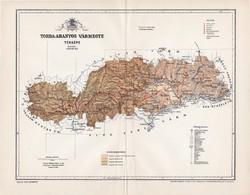 Torda - Aranyos vármegye térkép 1897 (1), lexikon melléklet, Gönczy Pál, 23 x 30 cm, megye, Posner