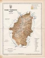 Turóc vármegye térkép 1893 (4), lexikon melléklet, Gönczy Pál, 23 x 30 cm, megye, Posner Károly