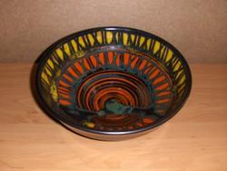 Iparművész kerámia tál kínáló Átmérő 23 cm, magasság 8,5 cm (ap)