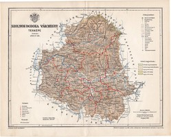 Szolnok - Doboka vármegye térkép 1897 (4), lexikon melléklet, Gönczy Pál, 23 x 29 cm, megye, Posner