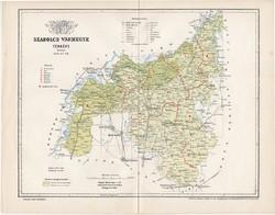 Szabolcs vármegye térkép 1894 (5), lexikon melléklet, Gönczy Pál, 23 x 30 cm, megye, Posner Károly