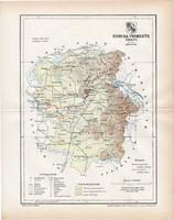 Ugocsa vármegye térkép 1897 (5), lexikon melléklet, Gönczy Pál, 23 x 29 cm, megye, Posner Károly