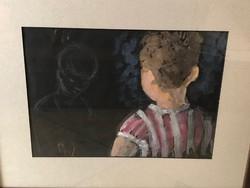Ismeretlen festő: Akvarell, Kisfiú