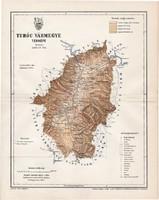 Turóc vármegye térkép 1897 (1), lexikon melléklet, Gönczy Pál, 23 x 30 cm, megye, Posner Károly