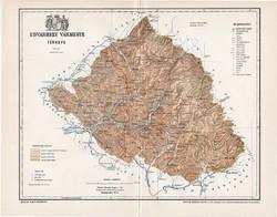 Udvarhely vármegye térkép 1897 (3), lexikon melléklet, Gönczy Pál, 23 x 30 cm, megye, Posner Károly