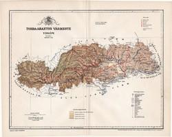 Torda - Aranyos vármegye térkép 1897 (3), lexikon melléklet, Gönczy Pál, 23 x 29 cm, megye, Posner