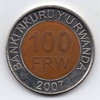Rwanda Ruanda 100 Frank, 2007, bimetál