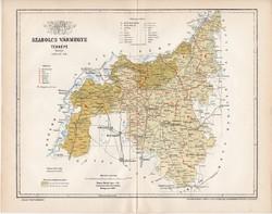 Szabolcs vármegye térkép 1894 (6), lexikon melléklet, Gönczy Pál, 23 x 30 cm, megye, Posner Károly