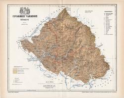 Udvarhely vármegye térkép 1897 (4), lexikon melléklet, Gönczy Pál, 23 x 29 cm, megye, Posner Károly