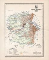 Ugocsa vármegye térkép 1897 (3), lexikon melléklet, Gönczy Pál, 23 x 29 cm, megye, Posner Károly