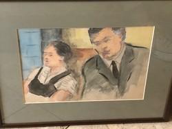 Ismeretlen festő: Akvarell, férfi és nő