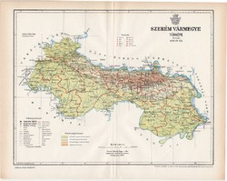 Szerém vármegye térkép 1897 (7), lexikon melléklet, Gönczy Pál, 23 x 30 cm, megye, Posner Károly