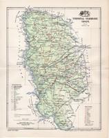Torontál vármegye térkép 1897 (3), lexikon melléklet, Gönczy Pál, 23 x 30 cm, megye, Posner Károly