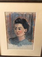 Ismeretlen festő: Akvarell, Női portré