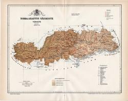 Torda - Aranyos vármegye térkép 1894 (5), lexikon melléklet, Gönczy Pál, 23 x 30 cm, megye, Posner