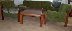 Retro ülőgarnitúra: kanapé, fotelek, asztal (zöld, 1986)