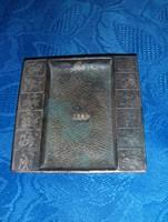 Régi iparművész réz tálca OTP felirattal 9,5*10 cm (19/d)
