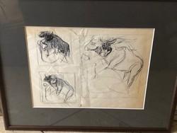 Ismeretlen festő: Tanulmány rajz, grafika