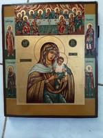 Orosz antik ikon KONEVI ISTENANYA utolsó vacsora szentek 19 sz