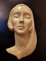 Gyönyörű antik art deco női fej kerámia falidísz