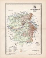Ugocsa vármegye térkép 1897 (4), lexikon melléklet, Gönczy Pál, 23 x 29 cm, megye, Posner Károly